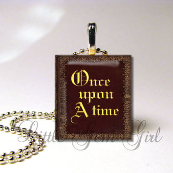 Once Upon a Time Book  Scrabble Tile Necklace by LittleGemGirl