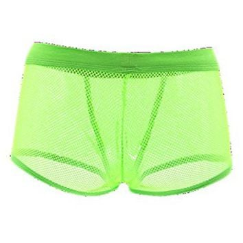 Cool Mens Mesh See Through Boxers Shorts Briefs Knickers Sexy Underwear (XXL, Green)