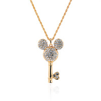 Mickey Gold Plated Crystal Rhinestones Filled Key Pendant Necklaces