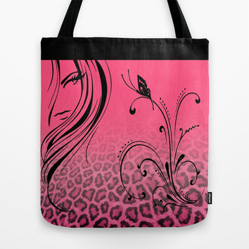 Jaguar Beauty in Pink Tote Bag by Donna Siegrist