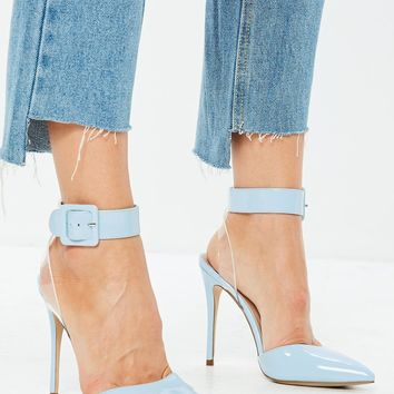 Missguided - Blue Floating Ankle Open Back Pumps