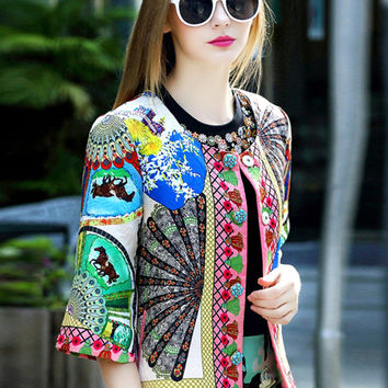 Multicolor Short Sleeve Jacquard Coat