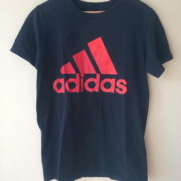 SMALL Adidas T-Shirt Black and Red // Adidas Trefoil Logo T-Shirt // Basic Adidas Tee Black Size Small