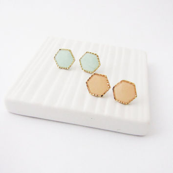 Hexagon Geometric Post Earrings. Choose your color studs. Geometric mint hexagon earrings. Dainty jewelry