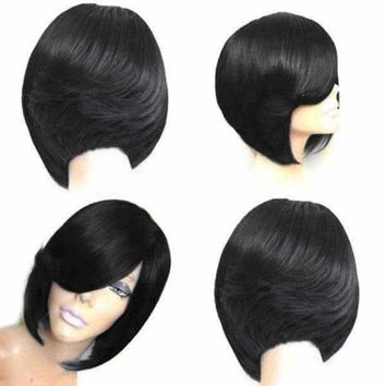 Short Side Bang Feathered Straight Bob Synthetic Wig - Wine Red | Fwresh Beauty