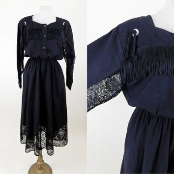 Black Cowgirl Lace and Fringe Dress // 80s Style Western Wear // 100% Cotton // Medium Large