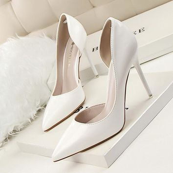 New Spring Single High Heels Shoes Women Pumps Thin Heels Concise Summer Elegant High