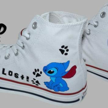 LMFUG7 Hand Painted Converse Hi. Stitch, From Lilo and Stitch cartoon. I'm Lost. Handpainted