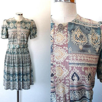 Pastel belted dress, paisley print, green, purple, gold, silky, vintage, 1980s, boho, midi length, short sleeve, pleated, medium, tea dress