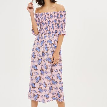 PETITE Shirred Midi Bardot Dress | Topshop