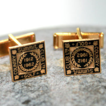 Vintage Gold Plated Summit Gold Country Club Cuff links 1962 Fathers Day Gifts