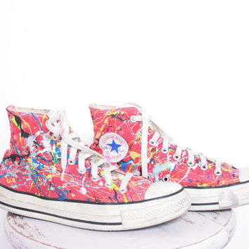 Custom Made Splatter Painted Vintage HighTop Converse Sneakers Adult Size 7 1/2