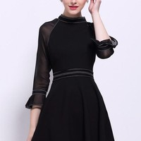 Black Skater Dress W/ Mesh Sleeve