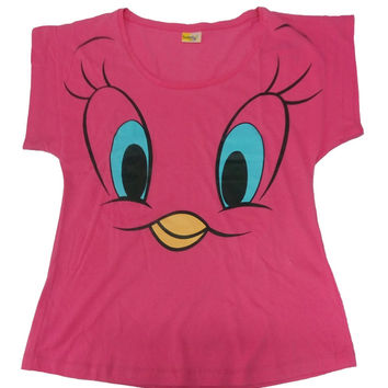 Tweety Face Pink Tee for Women