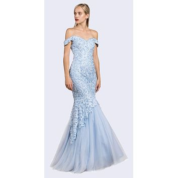 Off-Shoulder Mermaid Style Long Prom Dress Perry Blue