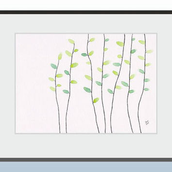 Simple nature themed art for gallery wall set. Original watercolor illustration of minimalist modern trees.
