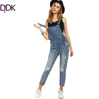 DIDK Women Jumpsuits and Rompers Sleeveless Womens Summer Outfits Strap Blue Ripped Stone Wash Denim Overall Jumpsuit