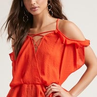 Open-Shoulder Surplice Top
