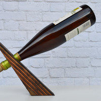 Bullet 17, an espresso wood gravity wine bottle holder, recycled wood wine display, great gift idea