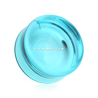 A Pair of Concave Aqua Transparent Glass Ear Gauge Plug