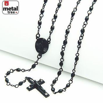 "Jewelry Kay style Matte Black Plated 4mm Bead Guadalupe Jesus Cross 25""  Fashion Rosary HR 700 MBK"