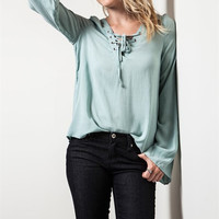 Bell Sleeve Lace Up Top in Sage