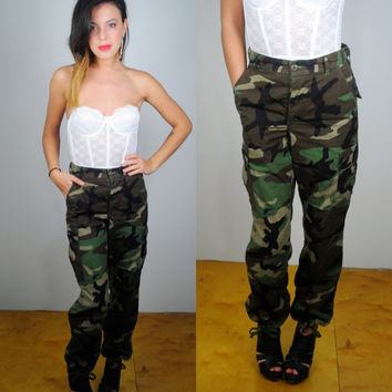 Vintage 80s 1990s authentic high waist military army camo cargo pants trousers S M L  All Sizes