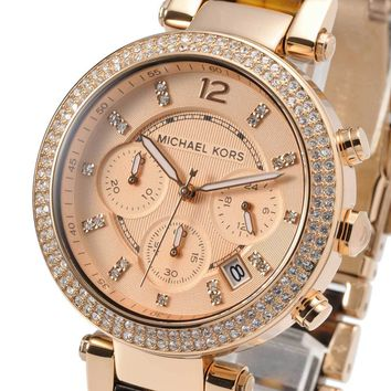 Michael Kors MK5538 Watch Chronograph Parker Tortoise Rose Gold Tone MK5538
