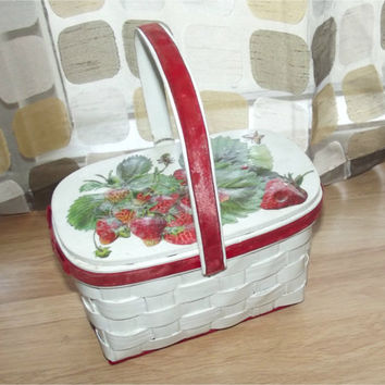 Vintage 60s Basket Purse | Decoupage Strawberries Purse | Hard Sided | Woven Wood | Box Handbag | Red White Green