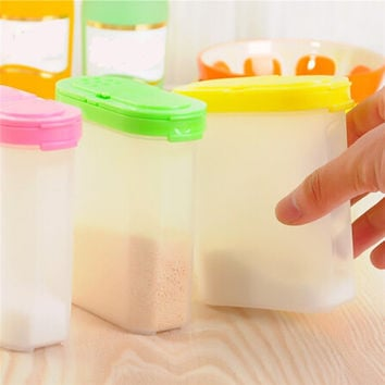 Plastic Kitchen Spice Boxes Jar Double Lid Cereal Condiment Bean Food Seasoning Container Storage Bottle Container 250ml