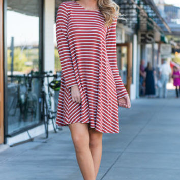 Searching for Love Dress, Rust-Ivory