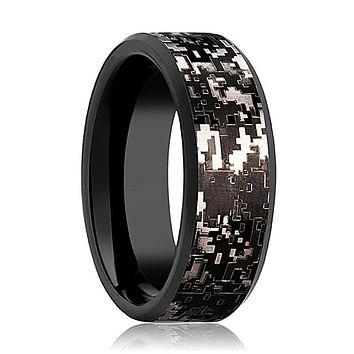 Camo Wedding Band - Black Tungsten - Black Digital Camo  - Tungsten Wedding Band - Beveled - Polished Finish - 8mm - Tungsten Wedding Ring