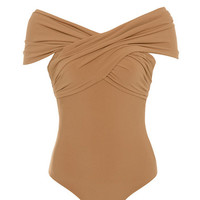 Clothing : Bodysuits : 'Marle' Tan Off Shoulder Cross Bust Bodysuit