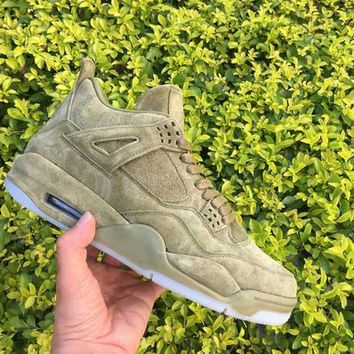 2017 KAWS x Air Retro 4 Green Basketball Shoes Men AAA Quality 4S IV Authentic Outdoor Sports Traniners Suede Sneakers With Box Size41-47