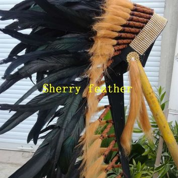 28inch high Black Indian Feather headdress chief indian war bonnet american costume