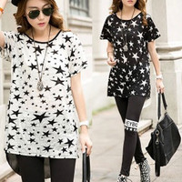 Star Print Back Bow Tie Short Sleeve Top