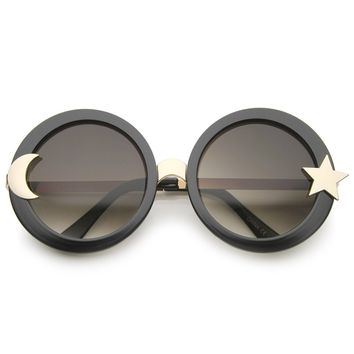 Women's Moon And Star Metal Temple Oversize Round Sunglasses 55mm