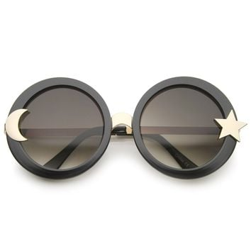 4f6513c32c267 Women s Moon And Star Metal Temple Oversize Round Sunglasses 55mm