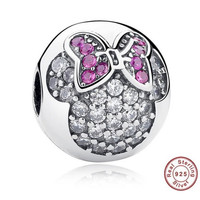 MICKEY MINNIE CLIP Bead / Charm 925 Sterling Silver Authentic fit Pandora Bracelet