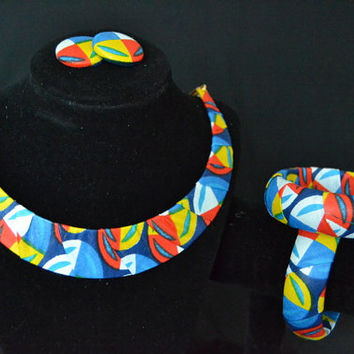 Red, Blue, White, and Yellow Ankara Earrings