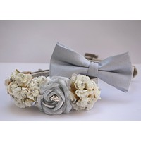 White and Silver Wedding Dog Collars, Silver Bow tie, Silver wedding accessory