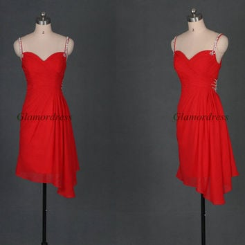 2014 red chiffon prom dresses short,latest v-neck holiday gowns with sequins straps,unique cheap dress for homecoming party.