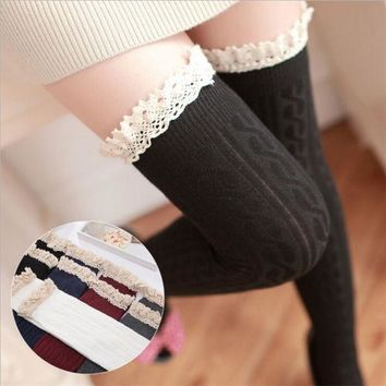 Fashion Womens Autumn Winter Warm Cotton Thigh High Long STOCKINGS Lace Knitted Over Knee Socks
