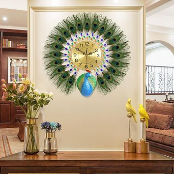 Wide Peacock Silent Quartz Wall Clock For Wall Decor