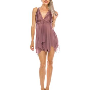 2 Piece Lace Babydoll and Thong Dark Orchid
