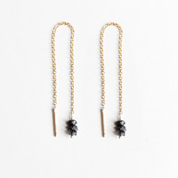 Rough Black Diamond Thread Earrings