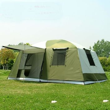 High quality 10 Persons Double Layer 2 Rooms 1 Hall Large Outdoor Family Party Camping Tent