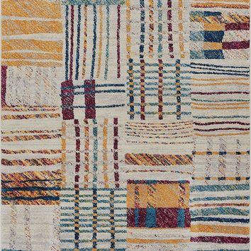 2967 Gold Multi Patchwork Contemporary Area Rugs