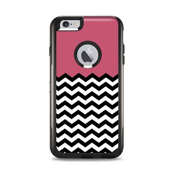 The Solid Pink with Black & White Chevron Pattern Apple iPhone 6 Plus Otterbox Commuter Case Skin Set