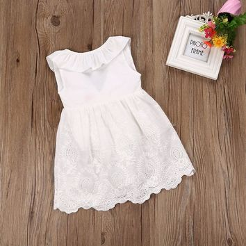 2017 Summer Princess Girls Dress Ruffles Back Bow White Lace Party Dresses Children Clothes Sundress 2-7Y